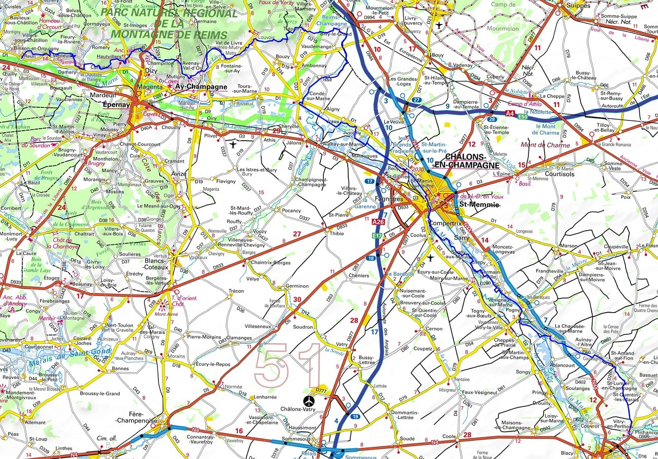 GR14 Walking from Reuil to Vitry-en-Perthois (Marne)