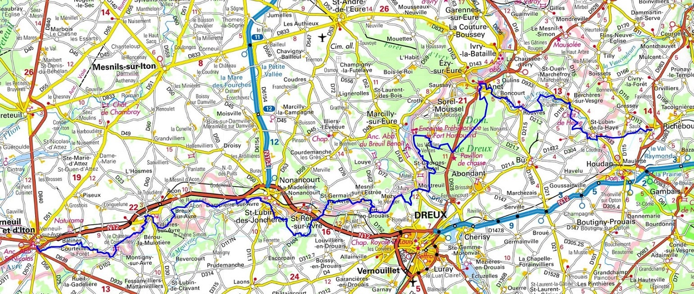 GR22 Walking from Richebourg (Yvelines) to Verneuil-sur-Avre (Eure)
