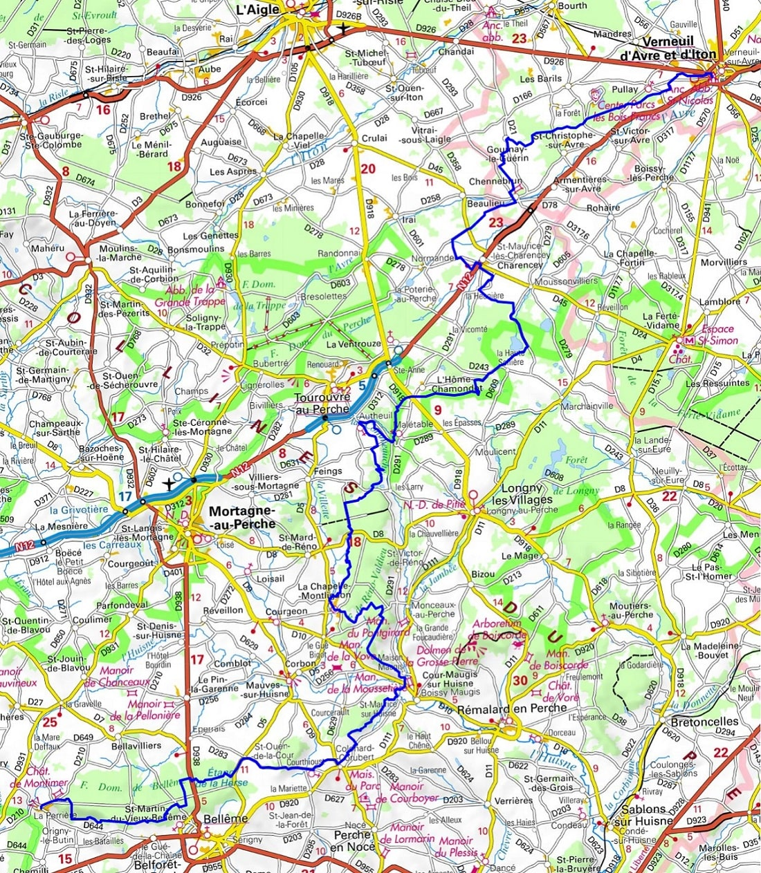 GR22 Walking from Verneuil-sur-Avre (Eure) to La Perriere (Orne) 1