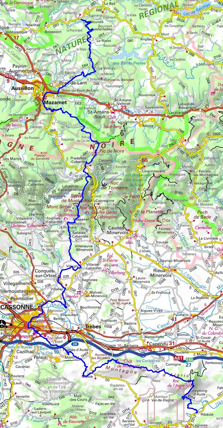 GR36 Hiking from Cambounes (Tarn) to Ribaute (Aude) 1