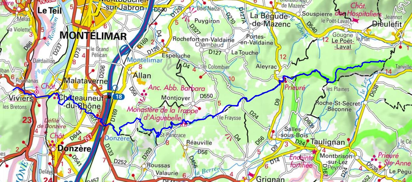 1 GR429 Hiking from Dieulefit (Drome) to Viviers (Ardeche)