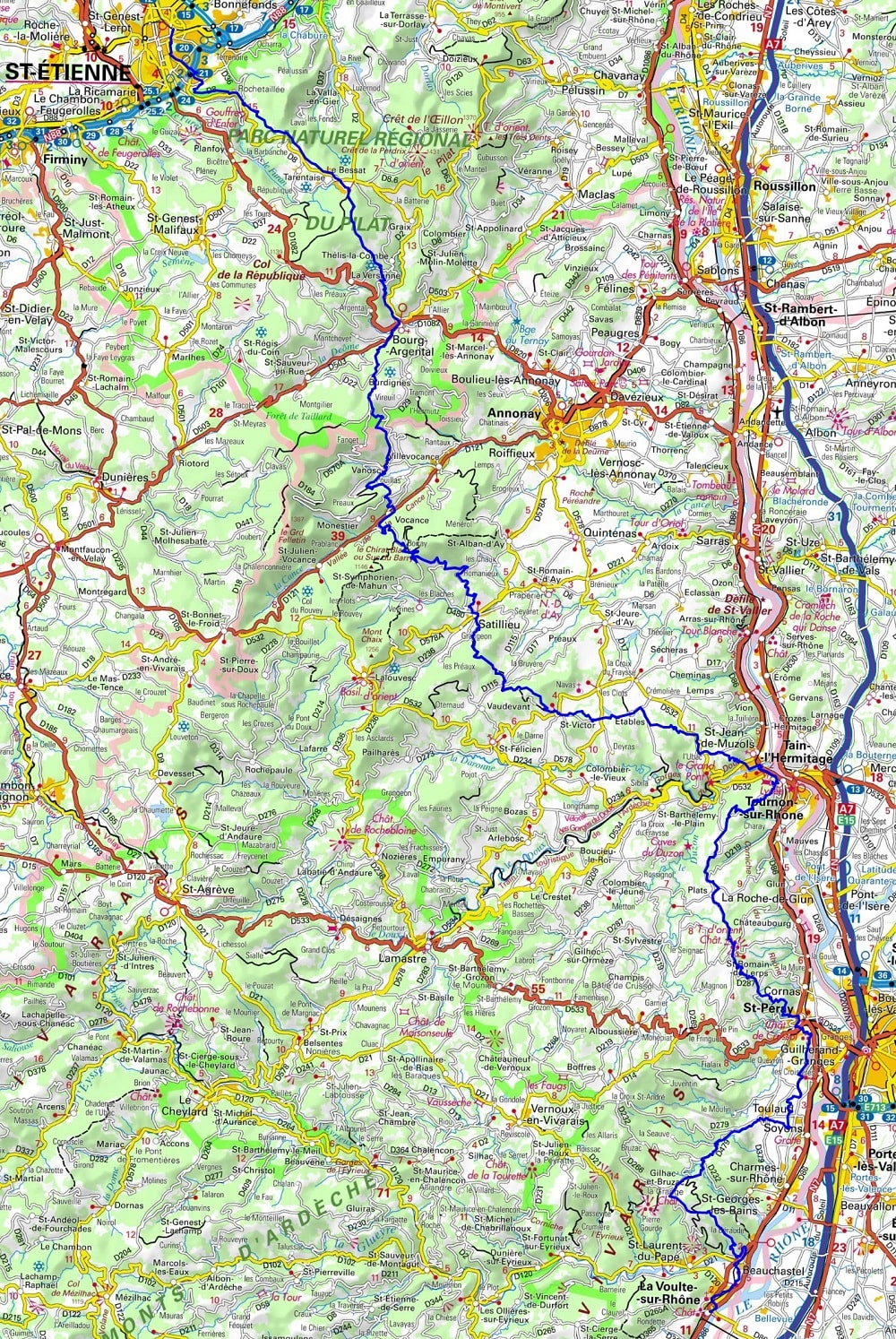 GR42 Hiking from Saint Etienne (Loire) to Boffres (Ardeche)