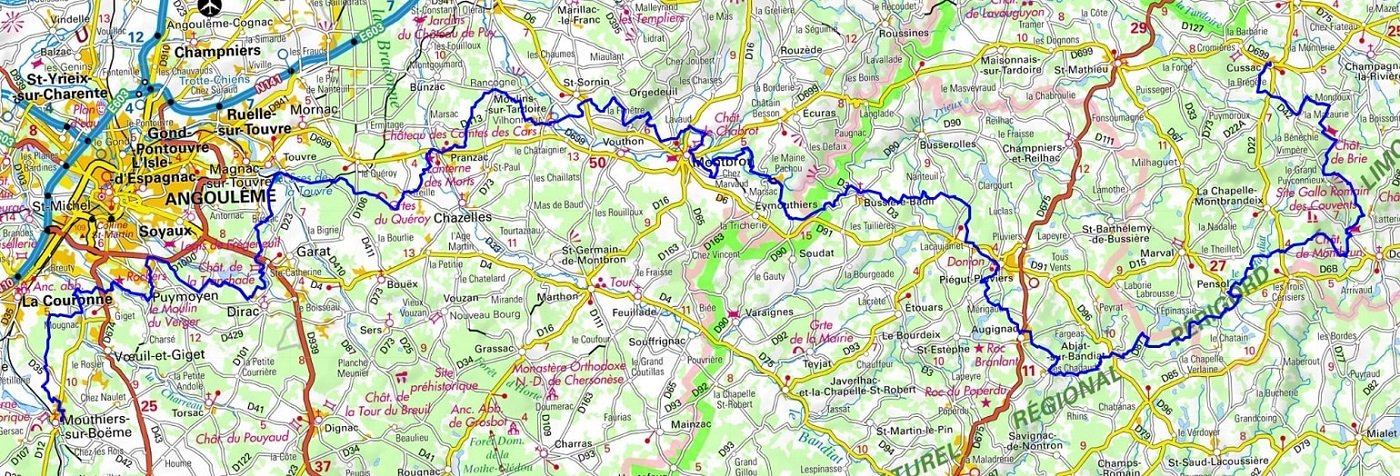 GR4 Hiking from Mouthiers-sur-Boeme (Charente) to Champagnac-la-Riviere (Haute-Vienne)