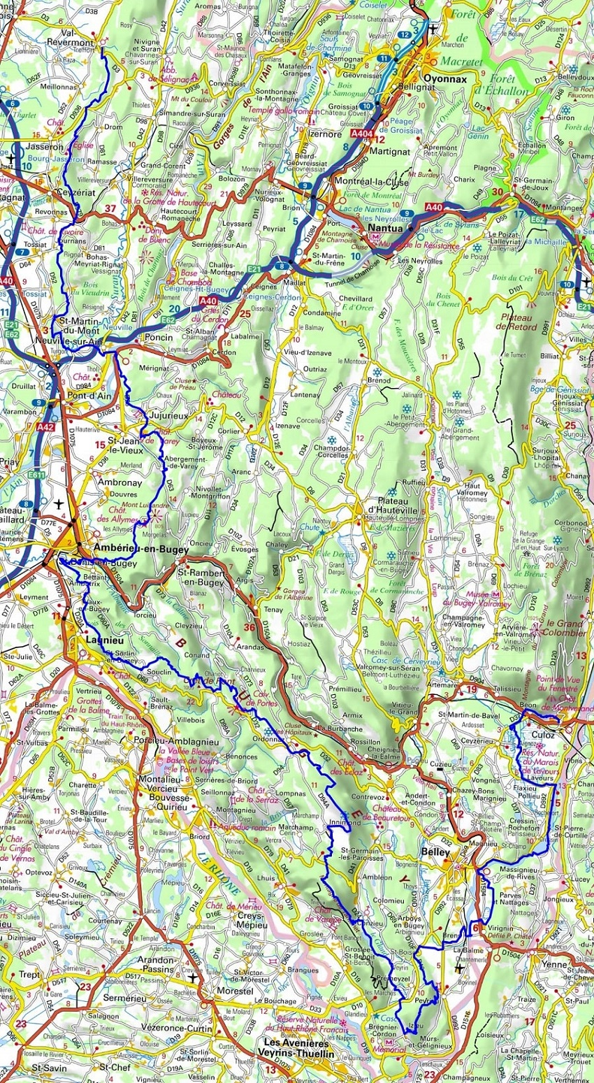 GR59 Hiking from Geruge (Jura) to Amberieu-en-Bugey (Ain)