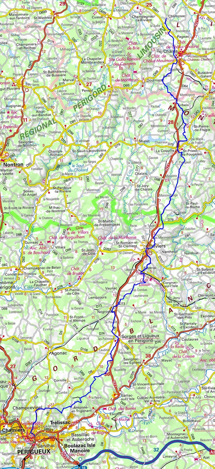 GR654 Walking from Cussac (Haute-Vienne) to St Astier (Dordogne)