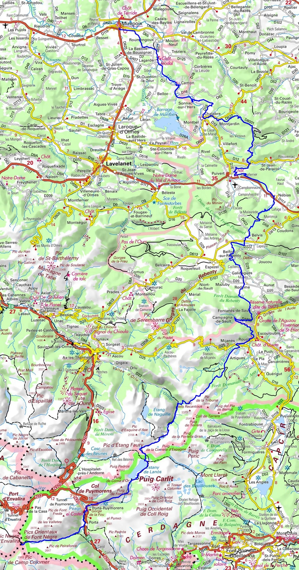 Map Of Spain France And Andorra.Gr7 Hiking From Mirepoix Ariege To Portella Blanca Of Andorra