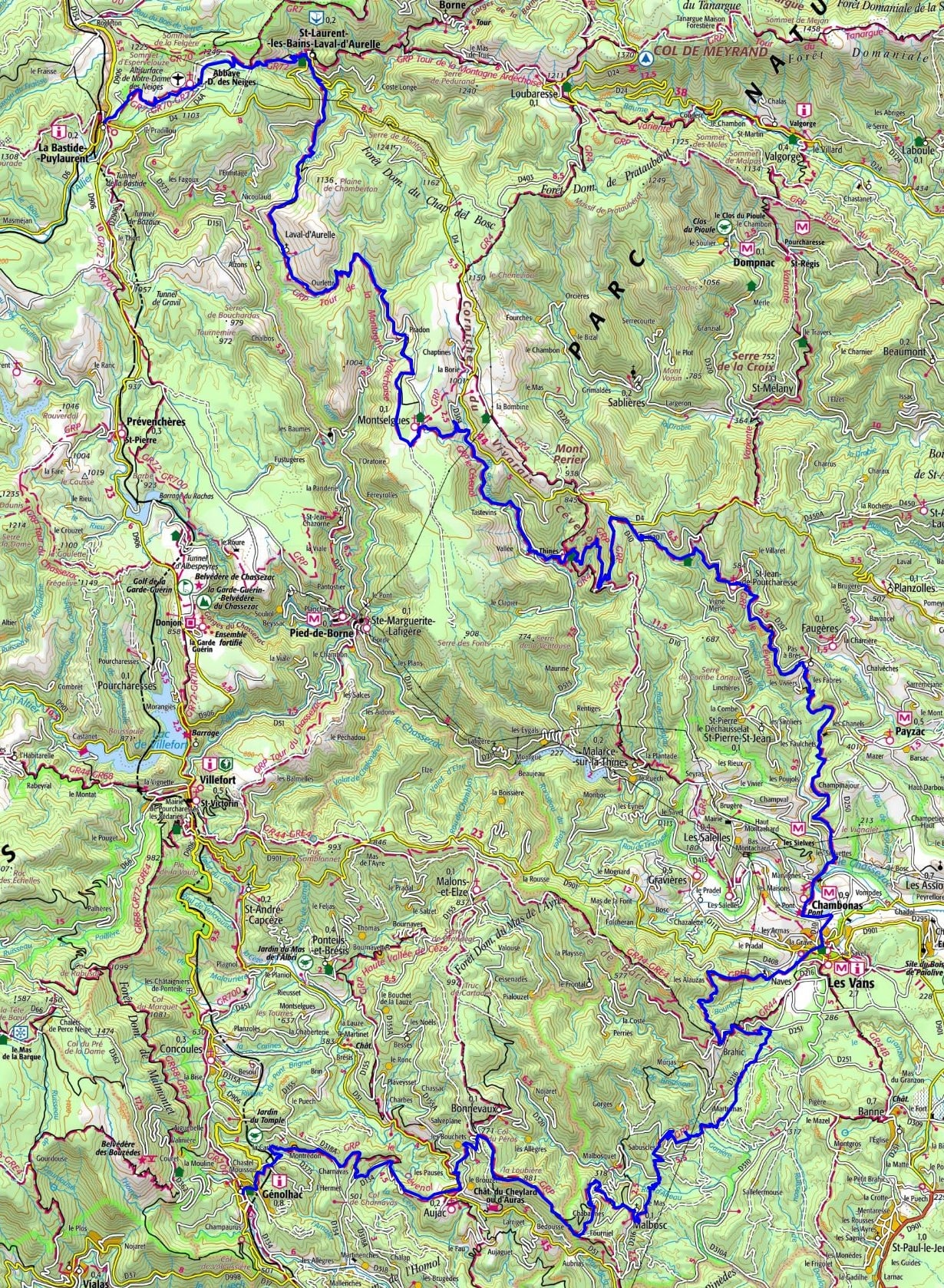 Hiking following the Cevenol (Lozere - Ardeche - Gard)